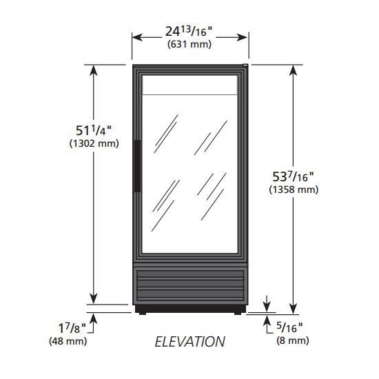 """True GDM-10PT-HC-LD 25"""" One-Section Glass Door Merchandiser w/ Swing Door, Black, 115v"""