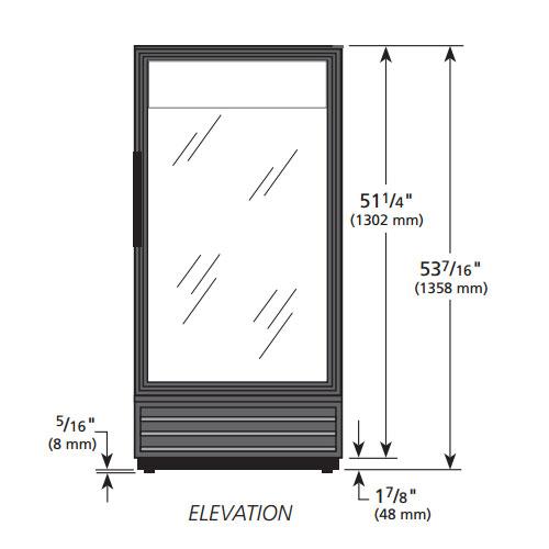 """True GDM-10SSL-HC-LD 25"""" One-Section Glass Door Merchandiser w/ Swing Door, Black, 115v"""