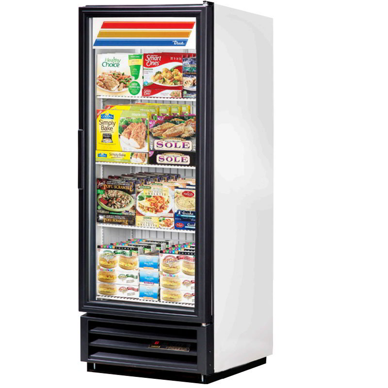 "True GDM-12F-LD 24"" One-Section Display Freezer w/ Swinging Door - Bottom Mount Compressor, White, 115v"