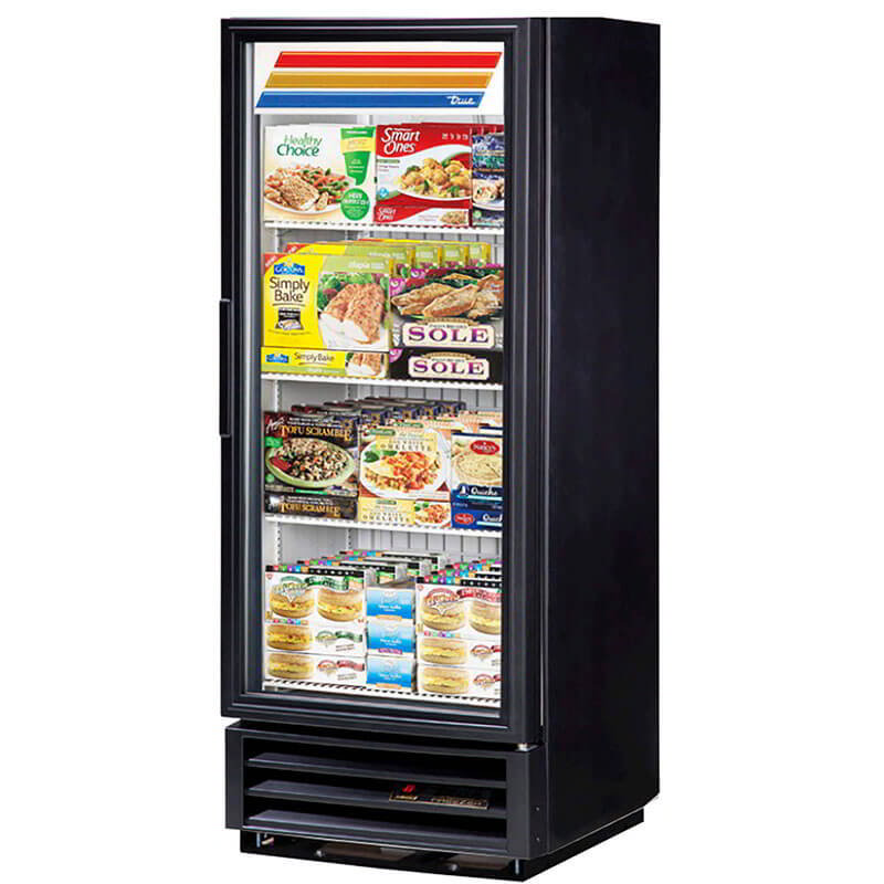"True GDM-12F-LD BK 24"" One-Section Display Freezer w/ Swinging Door - Bottom Mount Compressor, Black, 115v"
