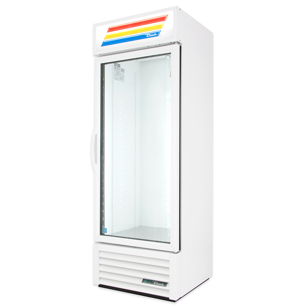 "True GDM-19T-HC-LD 27"" One-Section Glass Door Merchandiser w/ Swing Door, White, 115v"