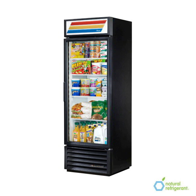"True GDM-19T-LD BK 27"" One-Section Refrigerated Display w/ Swing Door, Bottom Mount Compressor, Black, 115v"