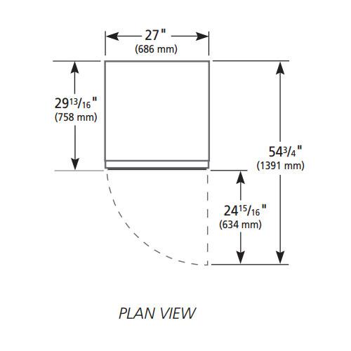 "True GDM-23-HC~TSL01 27"" One-Section Glass Door Merchandiser w/ Swing Door, White, 115v"