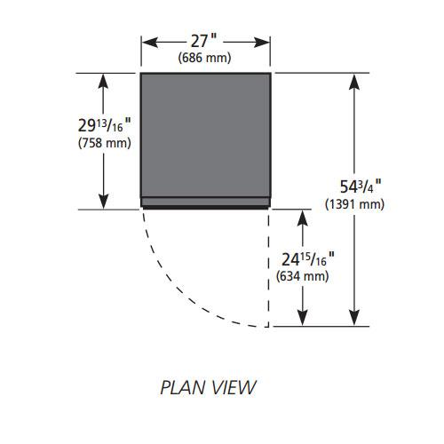 """True GDM-23-HC~TSL01 27"""" One-Section Glass Door Merchandiser w/ Swing Door, Black, 115v"""