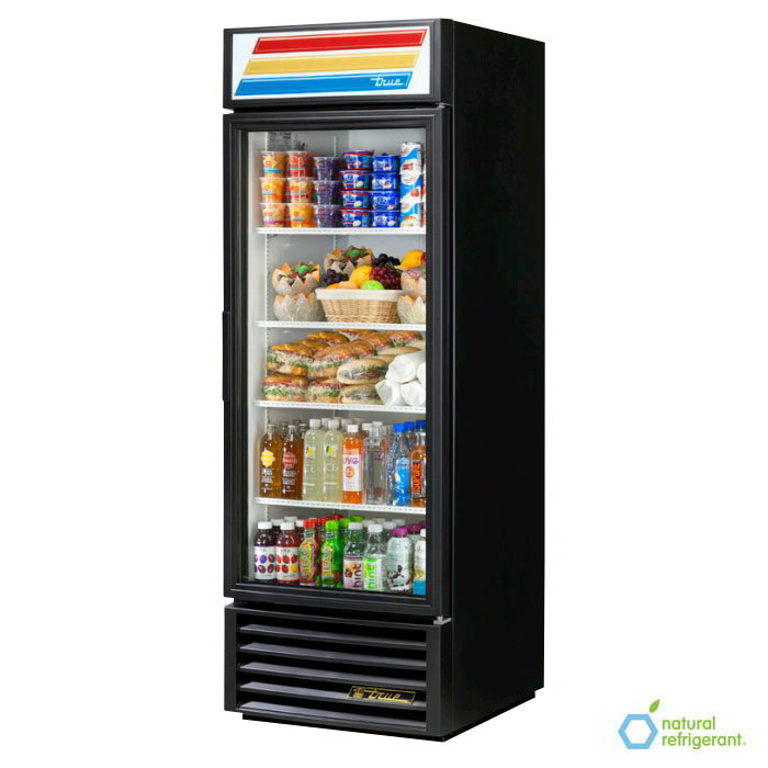 "True GDM-23-LD BK 27"" One-Section Refrigerated Display w/ Swing Door, Bottom Mount Compressor, Black, 115v"