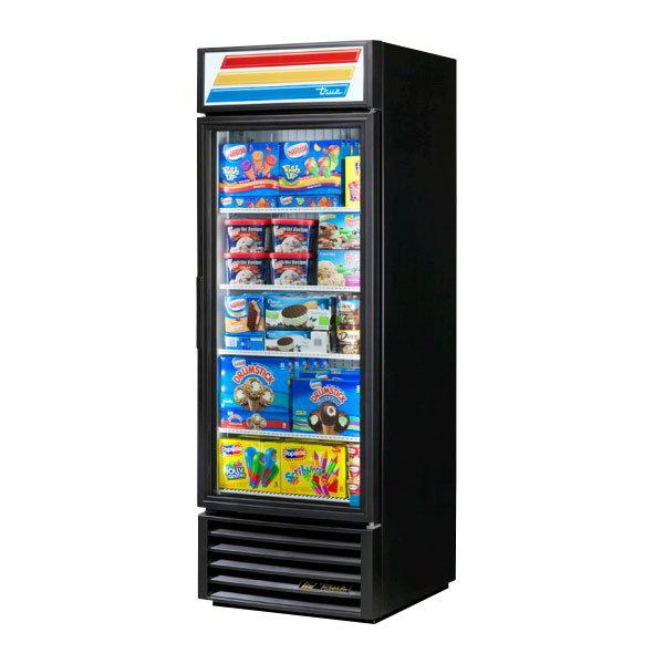 """True GDM-23F-LD LH BK 27"""" One-Section Display Freezer w/ Left Swinging Door - Bottom Mount Compressor, Black, 115v"""
