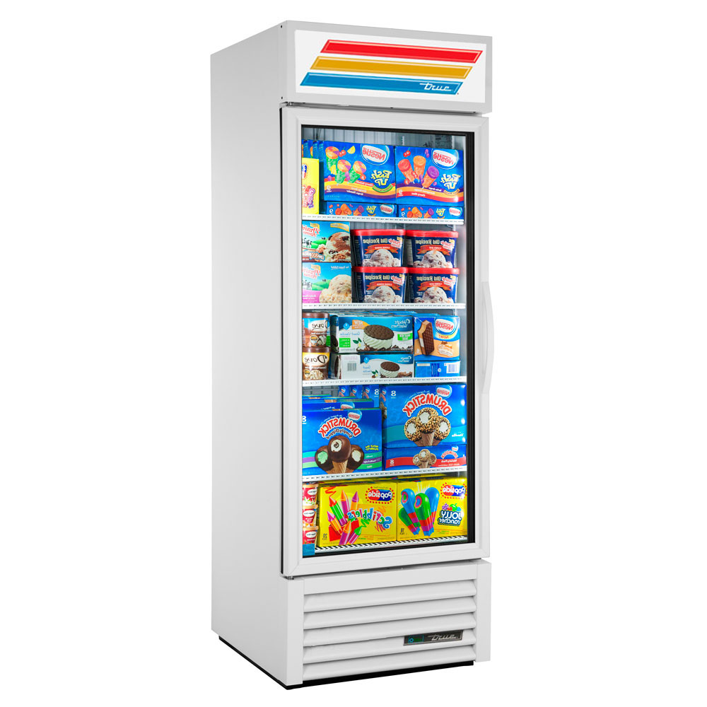 "True GDM-23F-LD LH WHT 27"" One-Section Display Freezer w/ Swinging Door - Bottom Mount Compressor, White, 115v"