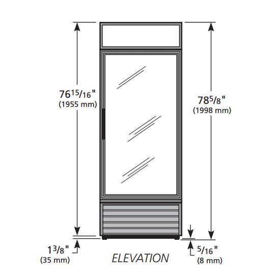 "True GDM-26F-HC~TSL01 30"" One-Section Display Freezer w/ Swinging Door - Bottom Mount Compressor, Black, 115v"