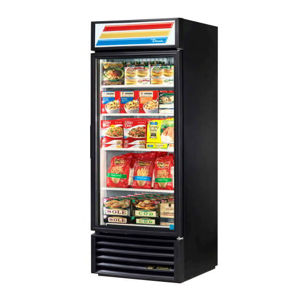 "True GDM-26F-HC-LD 30"" One-Section Display Freezer w/ Swinging Door - Bottom Mount Compressor, Black, 115v"