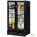 """True GDM-30-HC-LD 31"""" Two-Section Glass Door Merchandiser w/ Swing Doors, Black, 115v"""