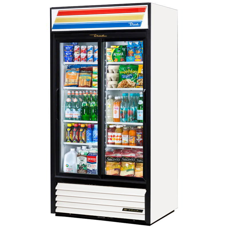 "True GDM-33-LD 40"" Two-Section Refrigerated Display w/ Sliding Doors, Bottom Mount Compressor, White, 115v"
