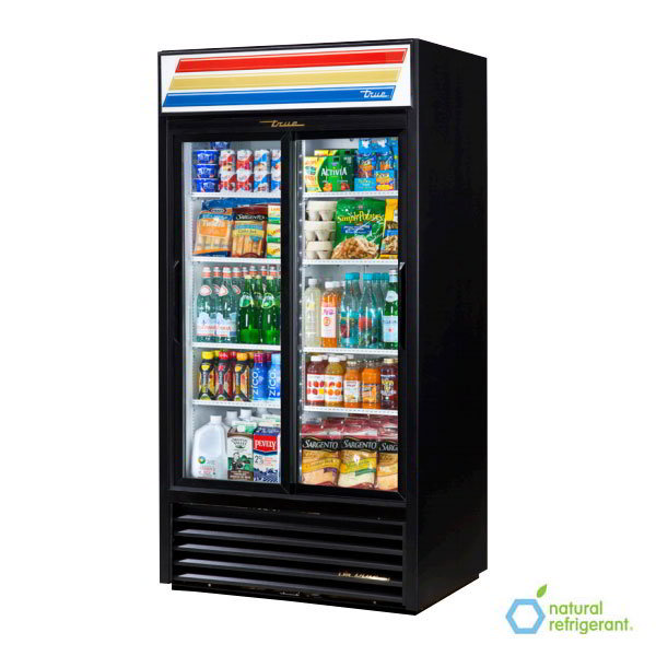 "True GDM-33-LD BK 40"" Two-Section Refrigerated Display w/ Sliding Doors, Bottom Mount Compressor, Black, 115v"