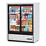 "True GDM-33CPT-54-LD WHT 40"" Two-Section Glass Door Merchandiser w/ Sliding Doors, White, 115v"