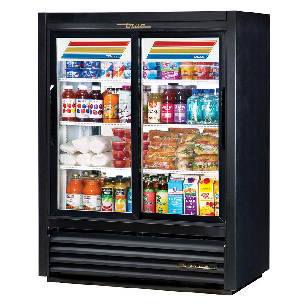 """True GDM-33CPT-54-LD 40"""" Two-Section Glass Door Merchandiser w/ Sliding Doors, Black, 115v"""