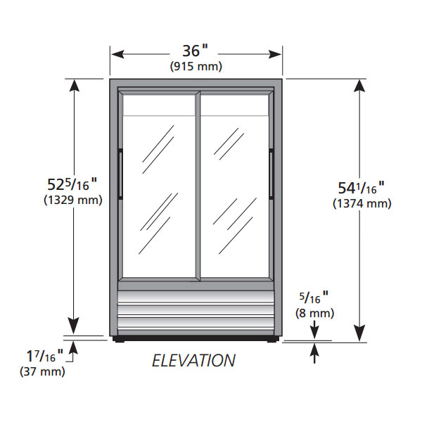 "True GDM-33SSL-54-LD 36"" Two-Section Glass Door Merchandiser w/ Sliding Doors, Black, 115v"