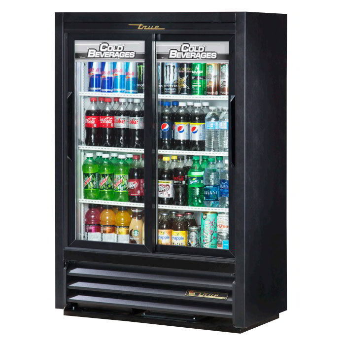 "True GDM-33SSL-54-LD 36"" Two-Section Refrigerated Display w/ Sliding Doors, Bottom Mount Compressor, 115v"