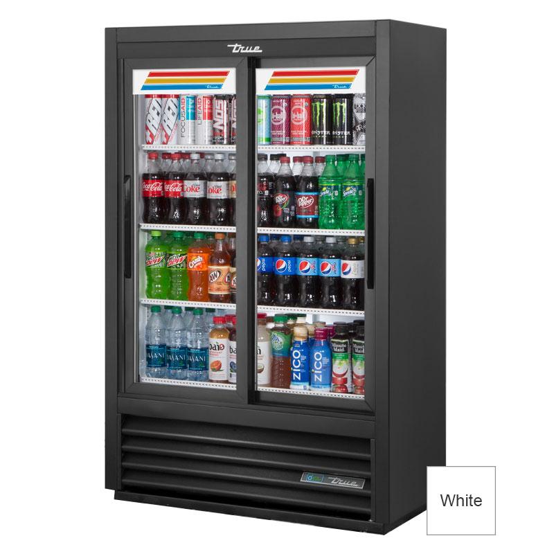"""True GDM-33SSL-56-HC-LD 36"""" Two-Section Glass Door Merchandiser w/ Sliding Doors, White, 115v"""