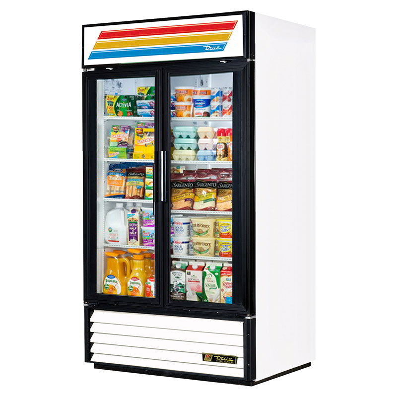 "True GDM-35-LD 39.5"" Two-Section Refrigerated Display w/ Swing Doors, Bottom Mount Compressor, 115v"