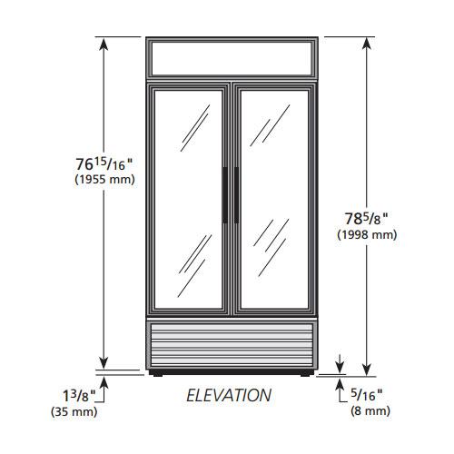 "True GDM-35-HC~TSL01 39.5"" Two-Section Glass Door Merchandiser w/ Swing Doors, Black, 115v"