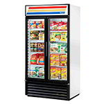 "True GDM-35F-LD WHT 39.5"" Two-Section Display Freezer w/ Swinging Doors - Bottom Mount Compressor, White, 115v"