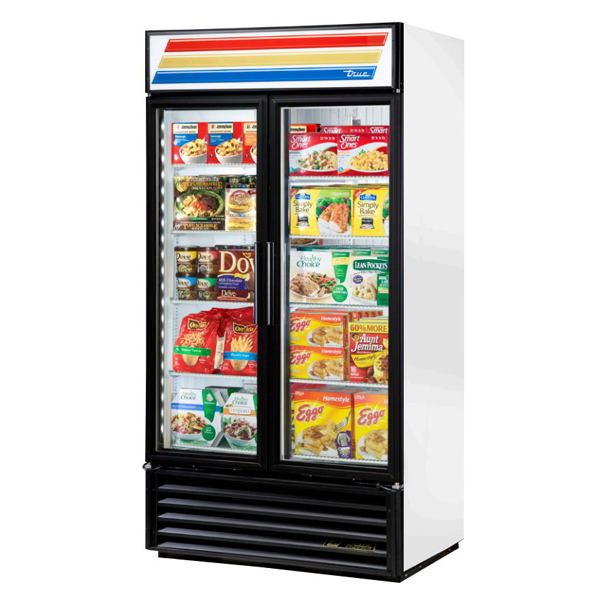 "True GDM-35F-LD 39.5"" Two-Section Display Freezer w/ Swinging Doors - Bottom Mount Compressor, 115v"