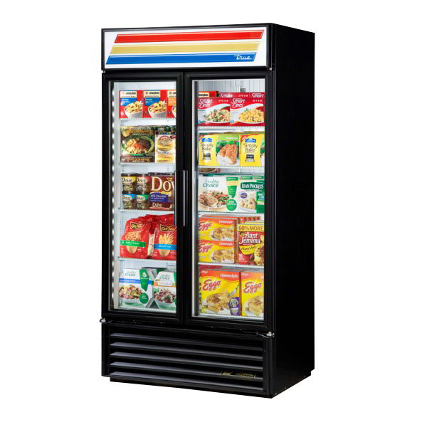 "True GDM-35F-LD 39.5"" Two-Section Display Freezer w/ Swinging Doors - Bottom Mount Compressor, Black, 115v"