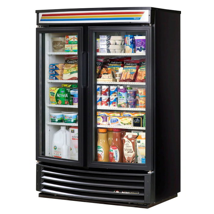 "True GDM-35SL-RF-LD 40"" Two-Section Refrigerated Display w/ Swing Doors, Bottom Mount Compressor, 115v"