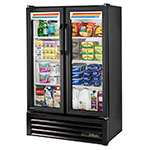 "True GDM-36SL-HC-LD 36"" Two-Section Glass Door Merchandiser w/ Swing Doors, Black, 115v"