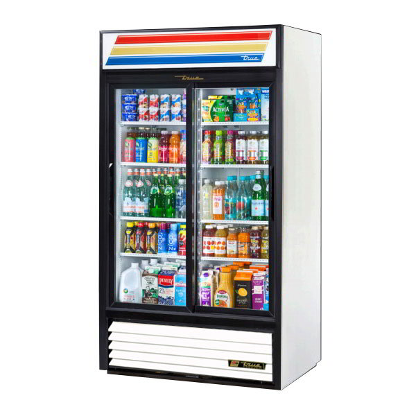 "True GDM-37-LD 43.5"" Two-Section Refrigerated Display w/ Sliding Doors, Bottom Mount Compressor, 115v"