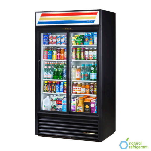 "True GDM-37-LD 44"" Two-Section Refrigerated Display w/ Sliding Doors, Bottom Mount Compressor, 115v"