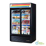 "True GDM-41-HC-LD 47"" Black Two-section Glass Door Merchandiser w/ LED Lighting & Sliding Doors, 115V"