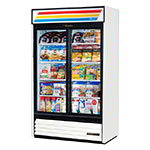 "True GDM-41SL-HC-LD 47"" Two-Section Glass Door Merchandiser w/ Sliding Doors, White, 115v"