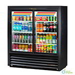 "True GDM-41SL-54-LD 48"" Two-Section Refrigerated Display w/ Sliding Doors, Bottom Mount Compressor, Black, 115v"