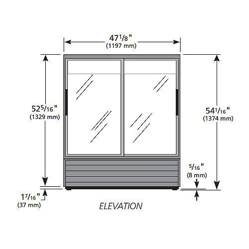 """True GDM-41SL-54-HC-LD 47"""" Two-Section Glass Door Merchandiser w/ Sliding Doors, Black, 115v"""