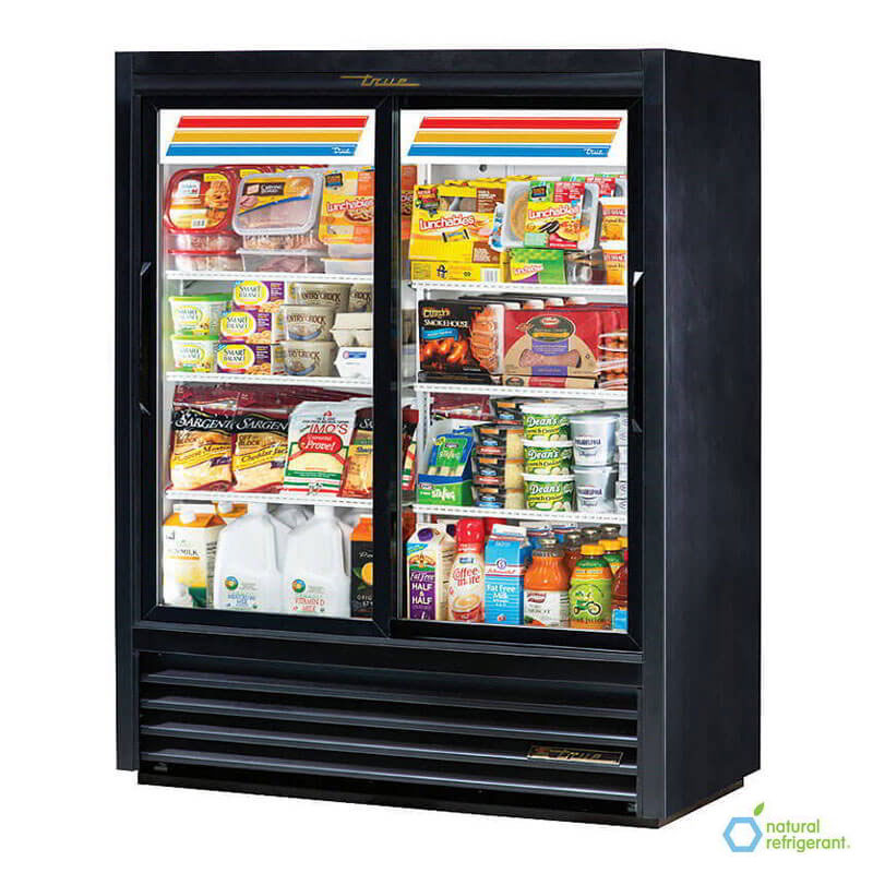 "True GDM-41SL-60-HC-LD 48"" Two-Section Glass Door Merchandiser w/ Sliding Doors, Black, 115v"