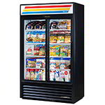 "True GDM-41SL-LD BK 48"" Two-Section Refrigerated Display w/ Sliding Doors, Bottom Mount Compressor, Black, 115v"