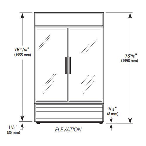 """True GDM-43-HC~TSL01 47"""" Two-Section Glass Door Merchandiser w/ Swing Doors, White, 115v"""