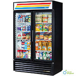 "True GDM-43-LD BK 48"" Two-Section Refrigerated Display w/ Swing Doors, Bottom Mount Compressor, Black, 115v"