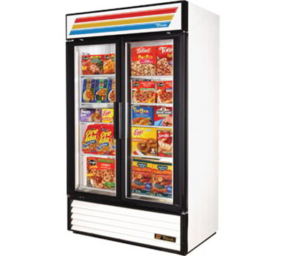 "True GDM-43F-LD 47"" Two-Section Display Freezer w/ Swinging Doors - Bottom Mount Compressor, White, 115v"