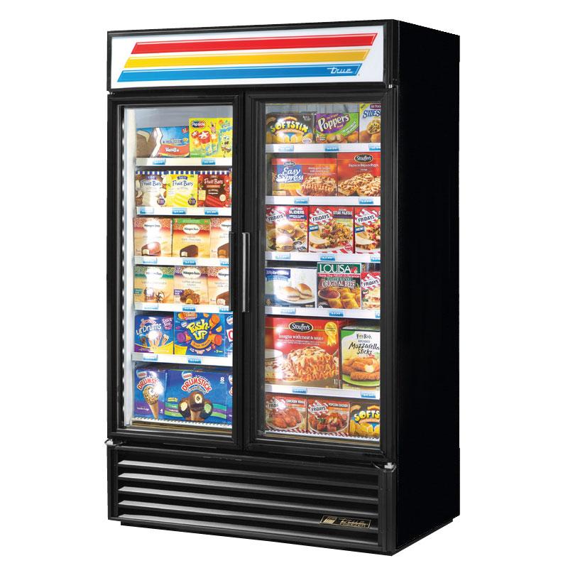 "True GDM-43F-LD BLK 27"" Two-Section Display Freezer w/ Swinging Doors - Bottom Mount Compressor, Black, 115v"