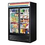 "True GDM-45-LD BK 52"" Two-Section Refrigerated Display w/ Sliding Doors, Bottom Mount Compressor, Black, 115v"
