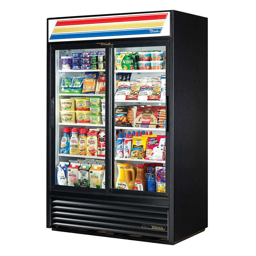 "True GDM-45-LD 52"" Two-Section Refrigerated Display w/ Sliding Doors, Bottom Mount Compressor, Black, 115v"