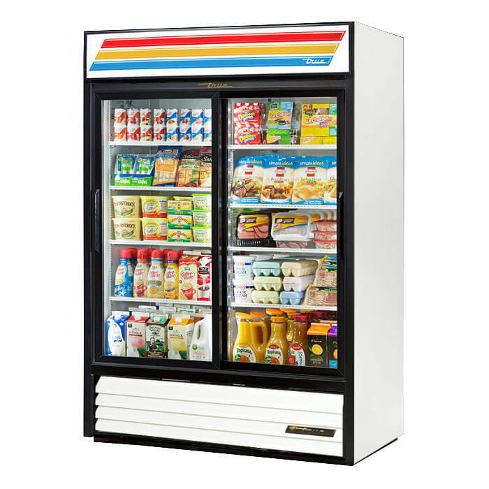 "True GDM-47-LD WHT 55"" Two-Section Refrigerated Display w/ Sliding Doors, Bottom Mount Compressor, White, 115v"