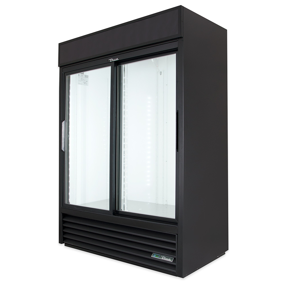 "True GDM-47-LD BK 55"" Two-Section Glass Door Merchandiser w/ Sliding Door, Black, 115v"