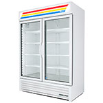 "True GDM-49-LD 55"" Two-Section Refrigerated Display w/ Swing Doors, Bottom Mount Compressor, White, 115v"
