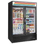 "True GDM-49-LD 55"" Two-Section Refrigerated Display w/ Swing Doors, Bottom Mount Compressor, Black, 115v"