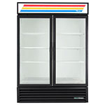 "True GDM-49-HC~TSL01 55"" Two-Section Glass Door Merchandiser w/ Swing Doors, Black, 115v"