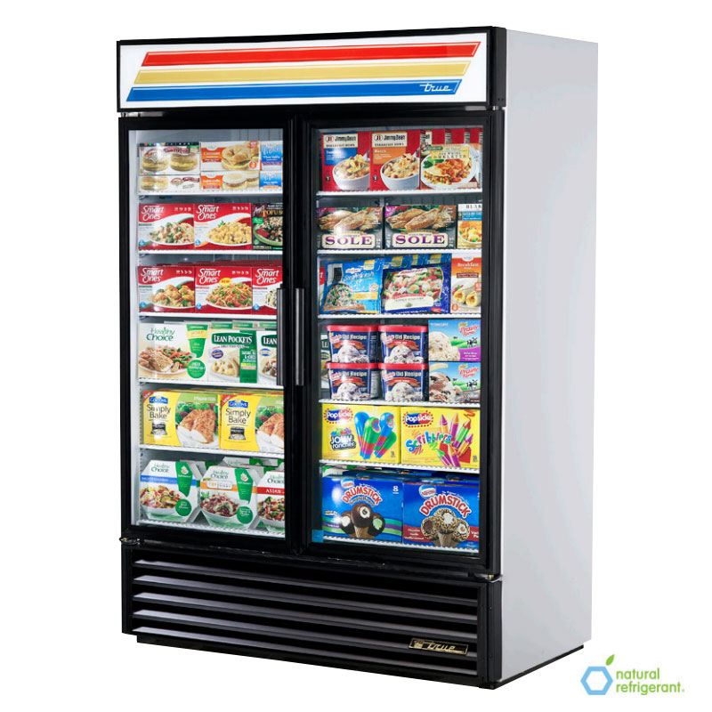 "True GDM-49F-HC~TSL01 54.13"" White Two-Section Display Freezer w/ Swinging Doors - Bottom Mount Compressor, 115v"