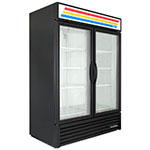 "True GDM-49F-HC~TSL01 54.13"" Two-Section Display Freezer w/ Swinging Doors - Bottom Mount Compressor, Black, 115/208-230v"