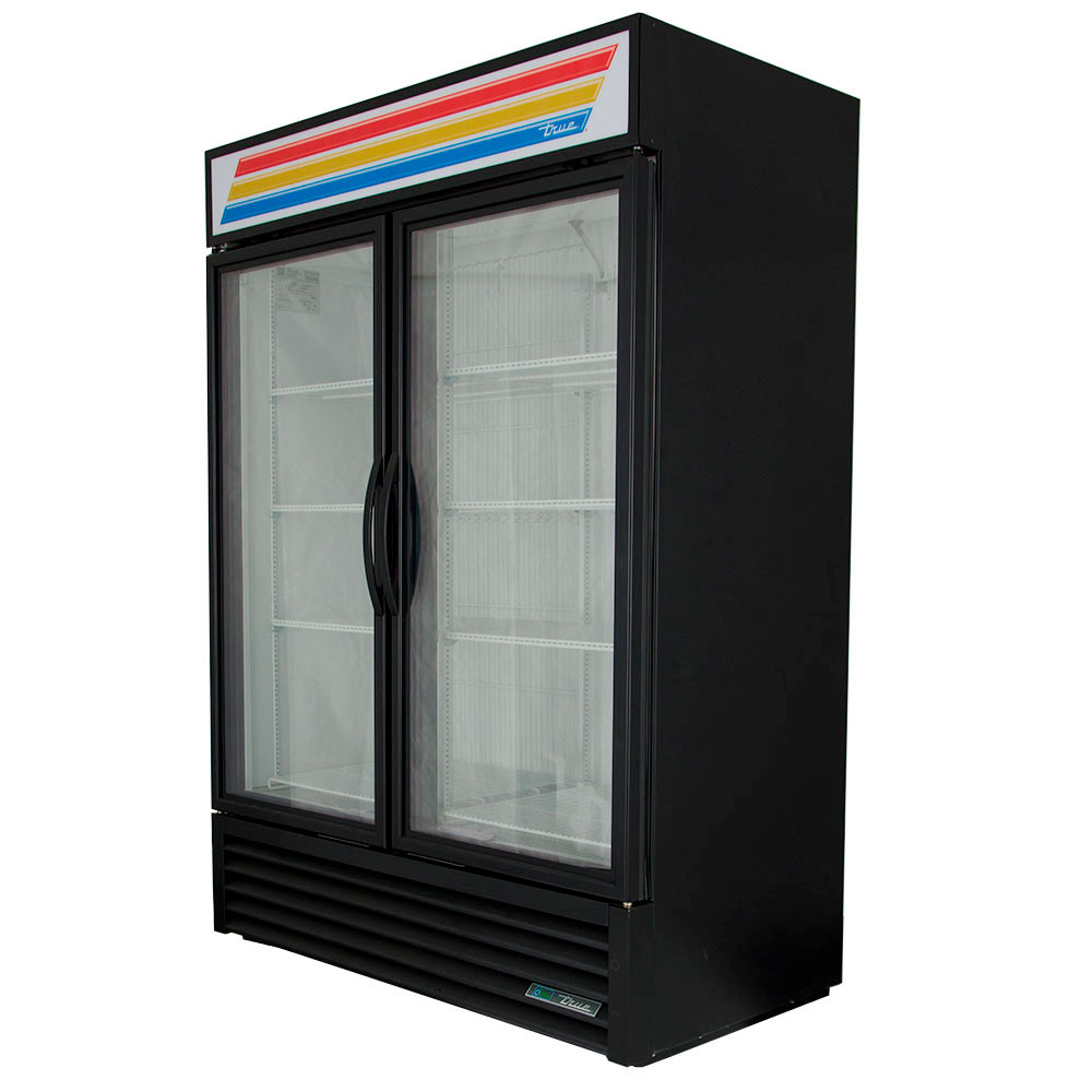 "True GDM-49F-LD 54.13"" Two-Section Display Freezer w/ Swinging Doors - Bottom Mount Compressor, Black, 115v"